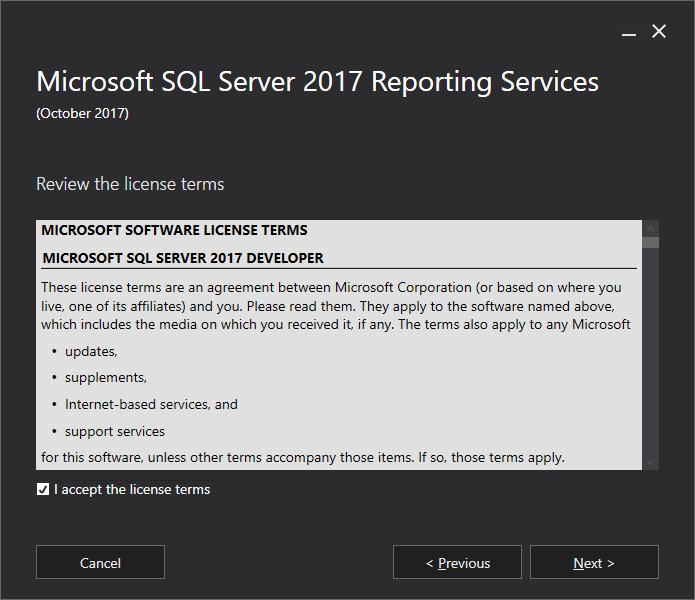 Microsoft SQL Server 2017 Reporting Services - Review the license terms