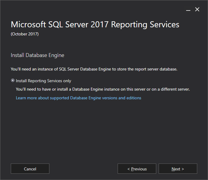 Microsoft SQL Server 2017 Reporting Services - Install Database Engine