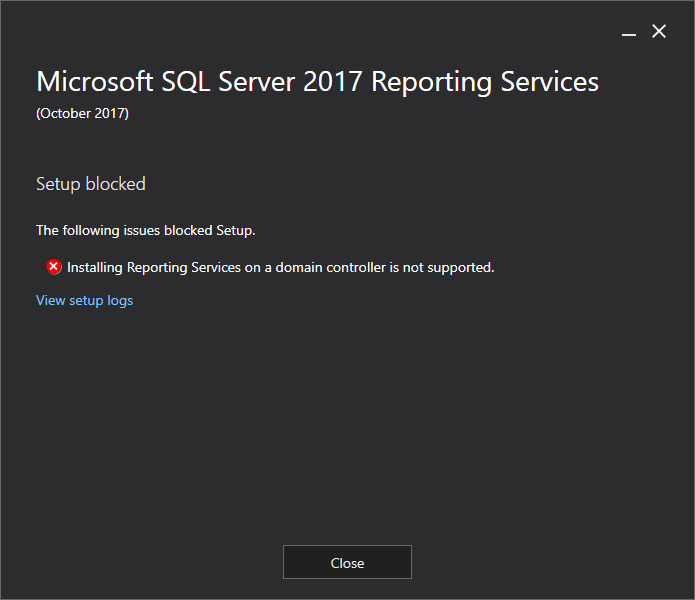 Microsoft SQL Server 2017 Reporting Services installation issue