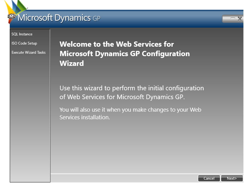 Microsoft Dynamics GP: Welcome to the Web Services for Microsoft Dynamics GP Configuration Wizard