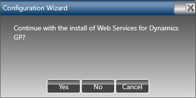 Continue with the install of Web Services for Microsoft Dynamics GP?