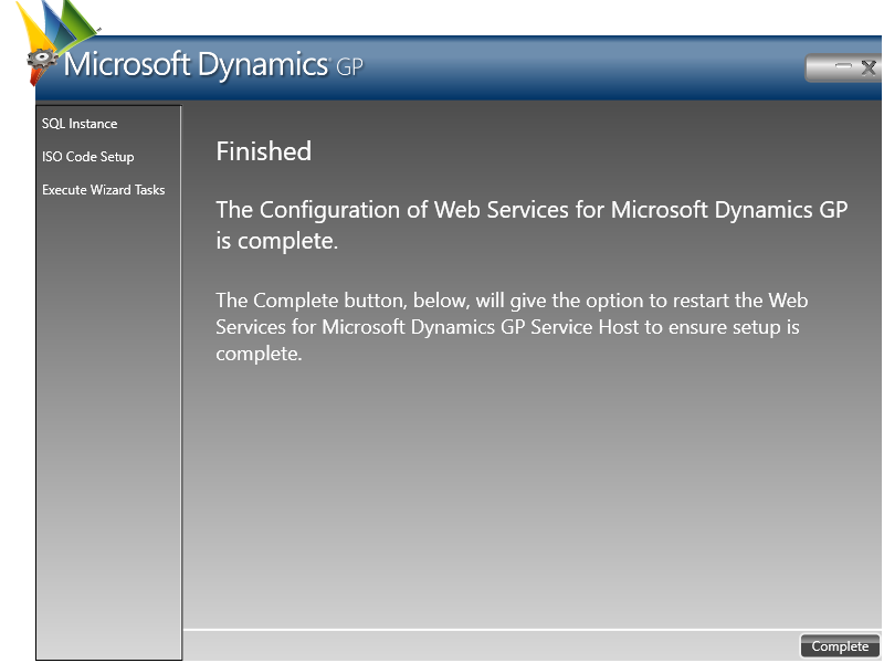 Microsoft Dynamics GP: Finished