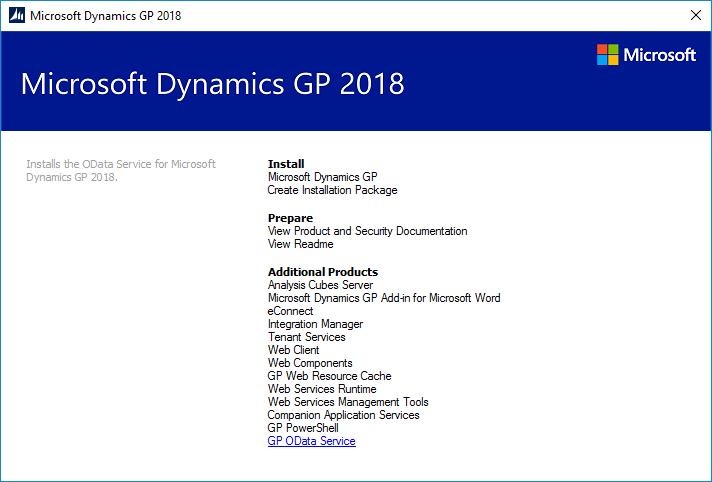Microsoft Dynamics GP 2018 RTM setup utility
