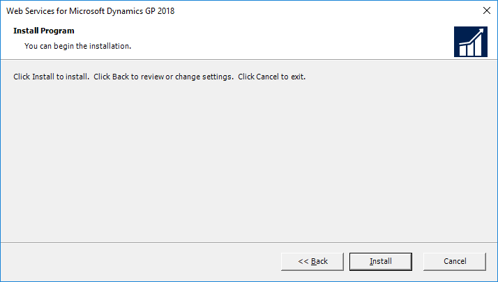Web Services for Microsoft Dynamics GP 2018: Install Program