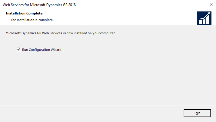 Web Services for Microsoft Dynamics GP 2018: Installation Complete