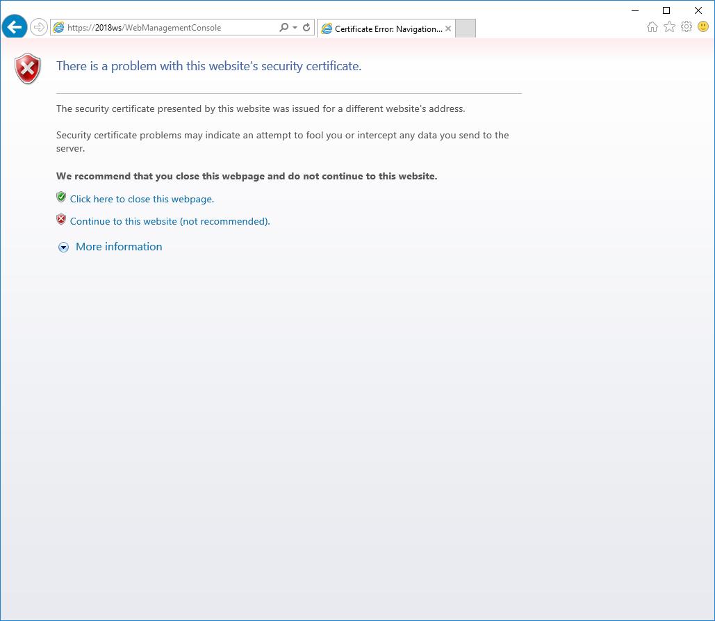 IE Security Certificate Warning