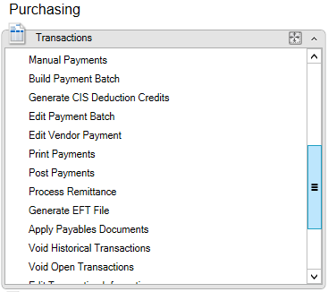Purchasing area page Transactions section