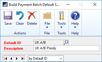 Build Payment Batch Default Settings