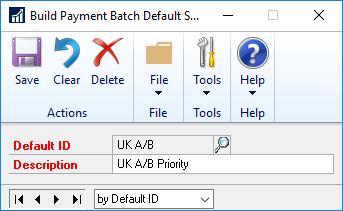 Build Payment Batch Default Settings