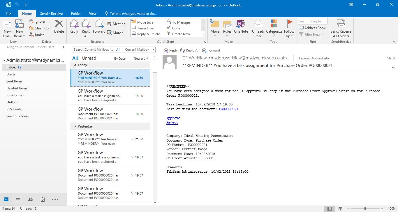 Workflow Reminder Email
