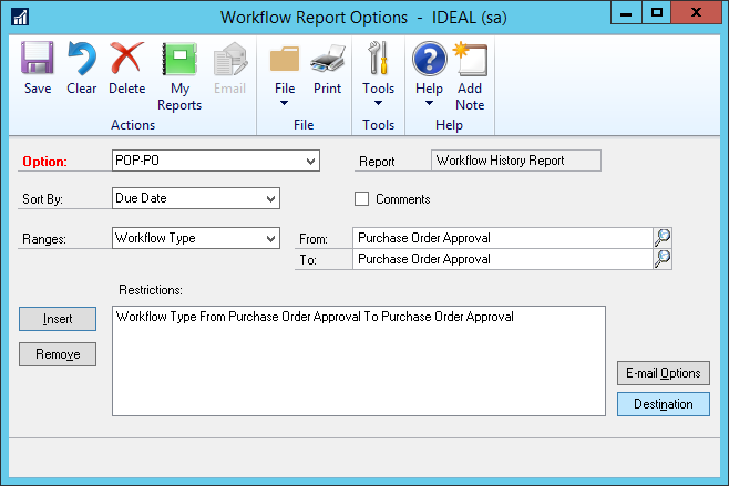 Workflow Report Options