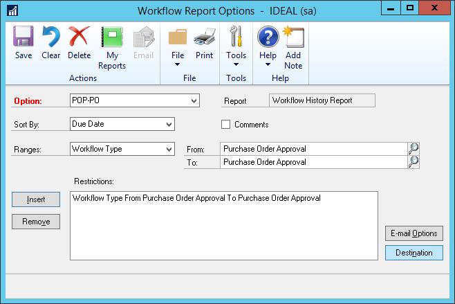 Workflow Report Options