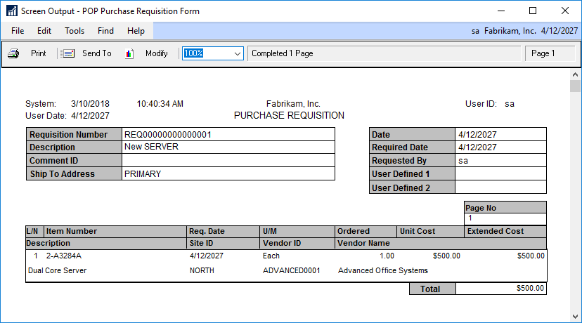 Screen Output - POP Purchase Requisition Form
