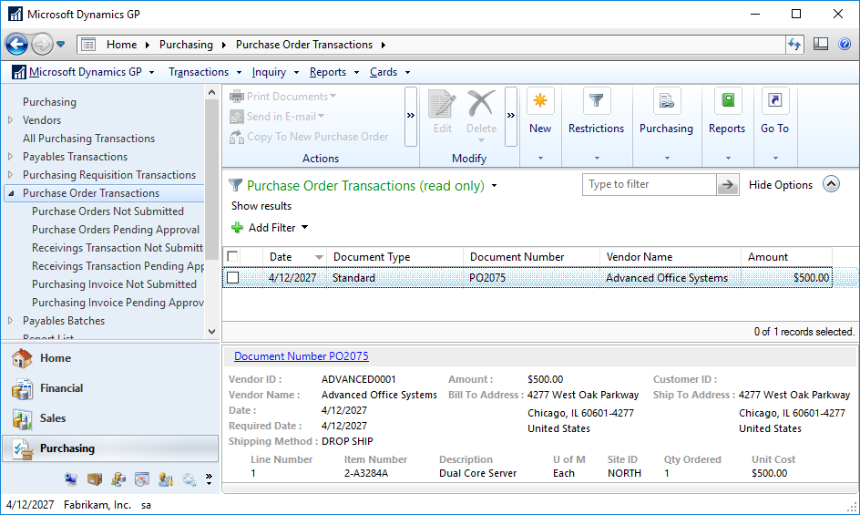 Purchase Order Transactions navigation list