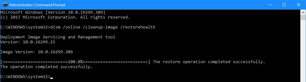 Command Prompt: dism /online /cleanup-image /restorehealth