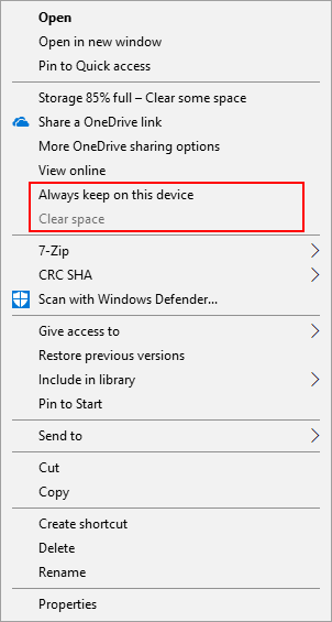 OneDrive right click