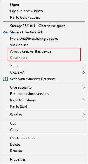 OneDrive right click