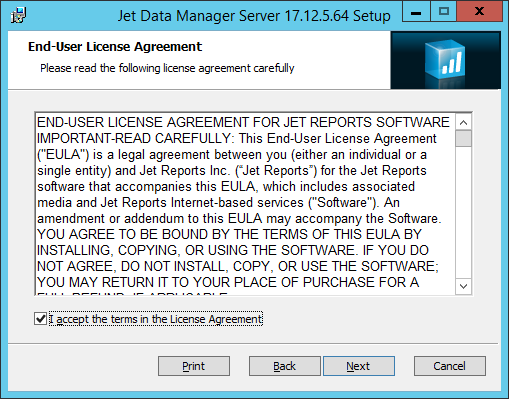 Jet Data Manager Server Setup: End-User License Agreement