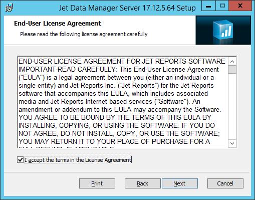 Jet Data Manager Server Setup: End-User License Agreement