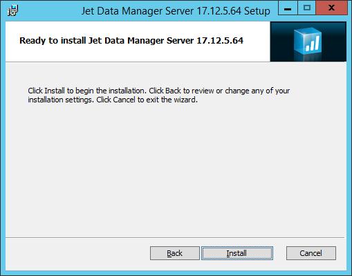 Jet Data Manager Server Setup: Jet Data Manager Server Setup: Ready to install Jet Data Manager Server