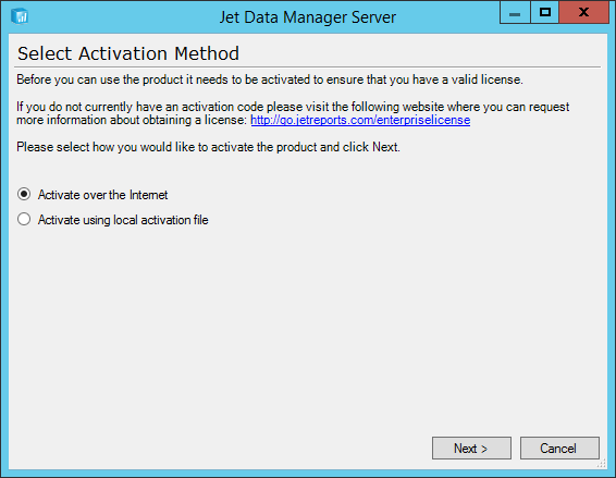 Jet Data Manager Server: Select Activation Method