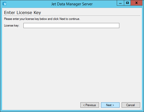 Jet Data Manager Server: Enter License Key