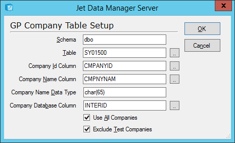 Jet Data Manager Server: GP Company Table Setup