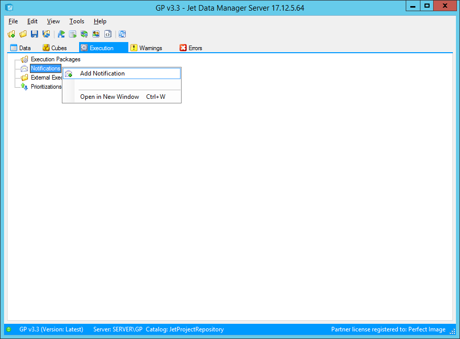 Jet Data Manager Server - Execution