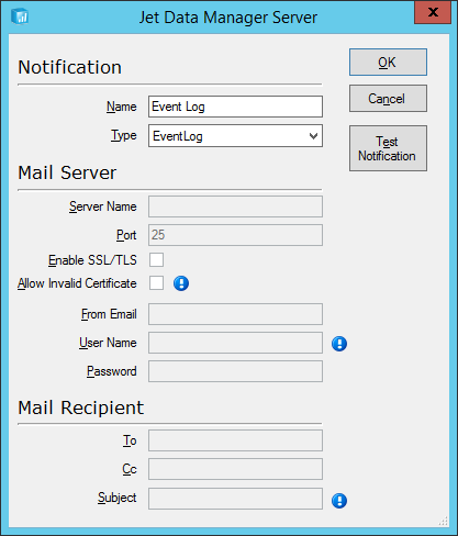 Jet Data Manager Server: Notification