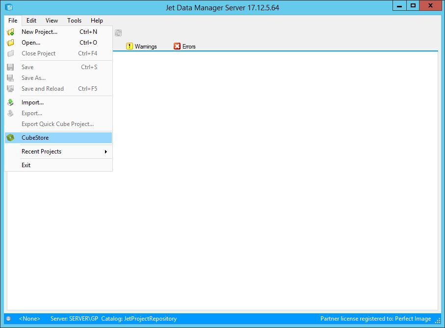 Jet Data Manager Server - File menu