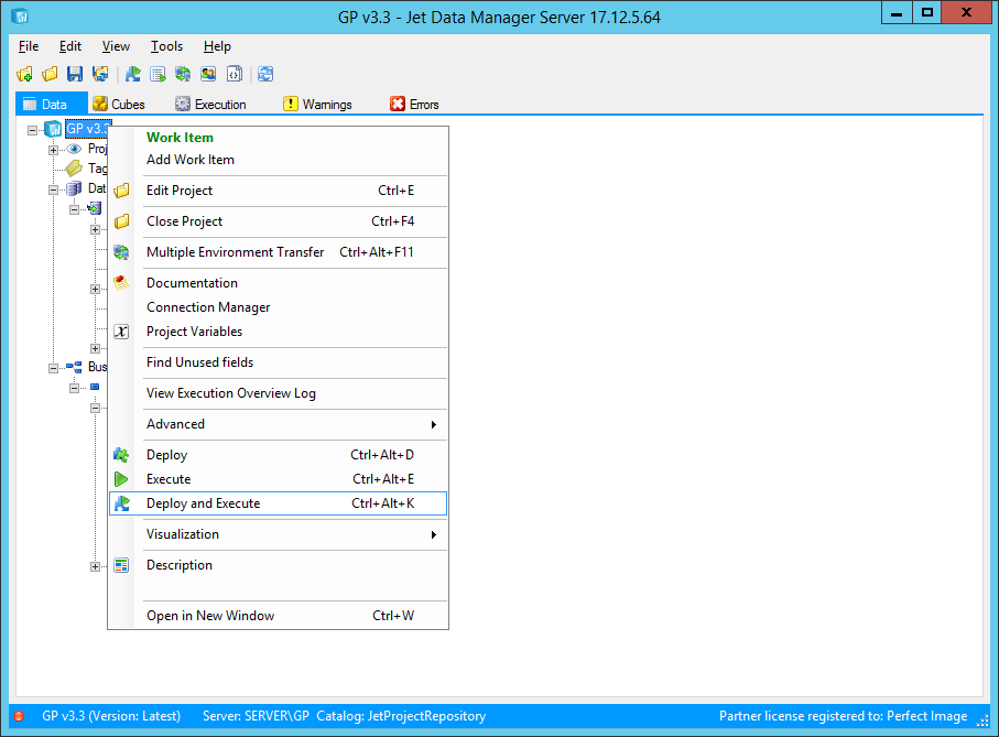 Jet Data Manager Server: Deploy and Execute