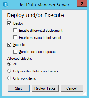 Jet Data Manager Server: Deploy and/or Execute