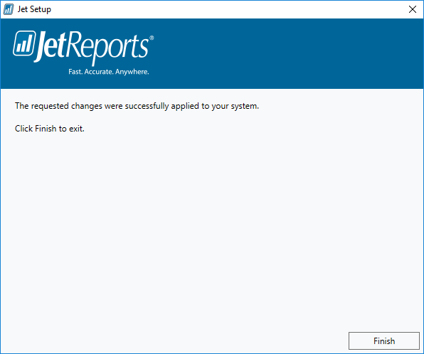 Jet Setup - installation complete