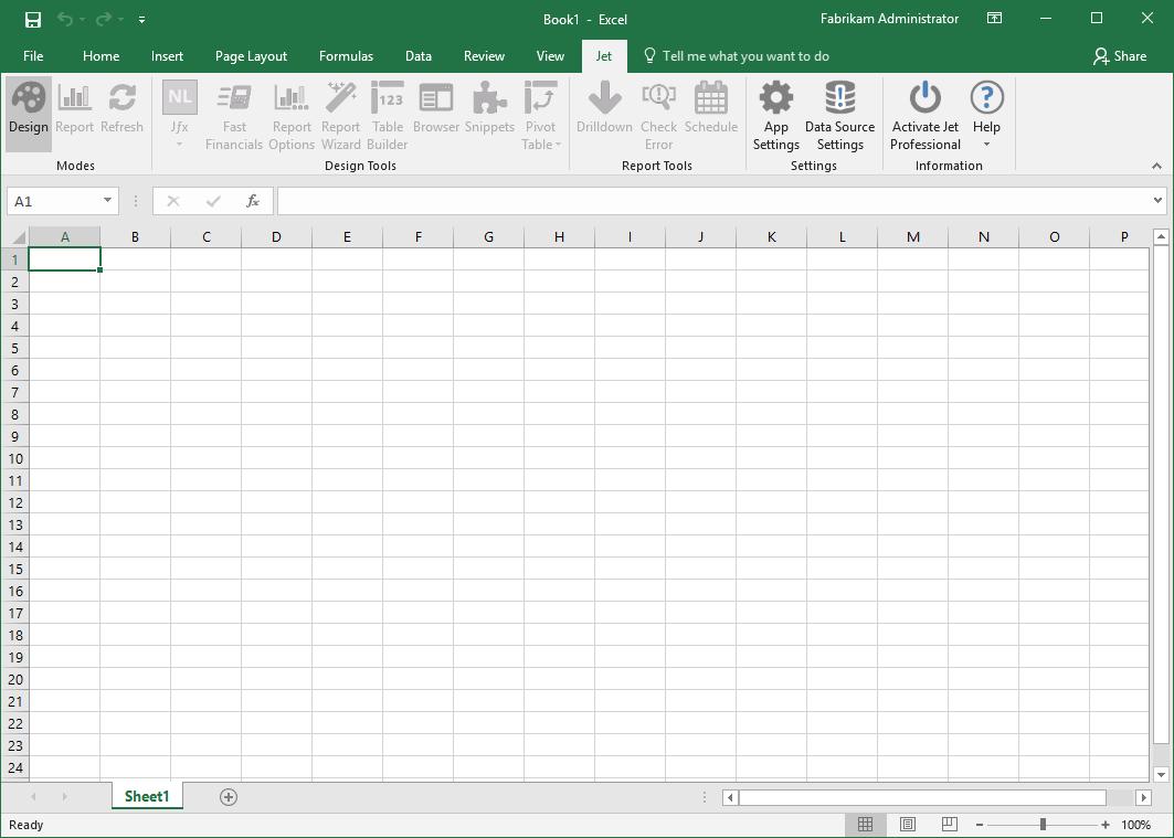 Microsoft Excel Jet Express tab