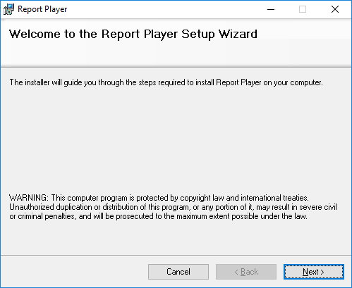Report Player - Welcome to the Report Player Setup