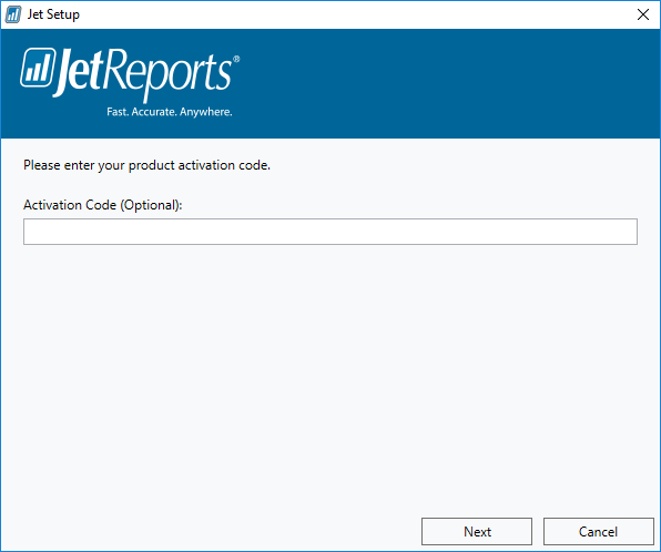 Jet Setup: Activation Code