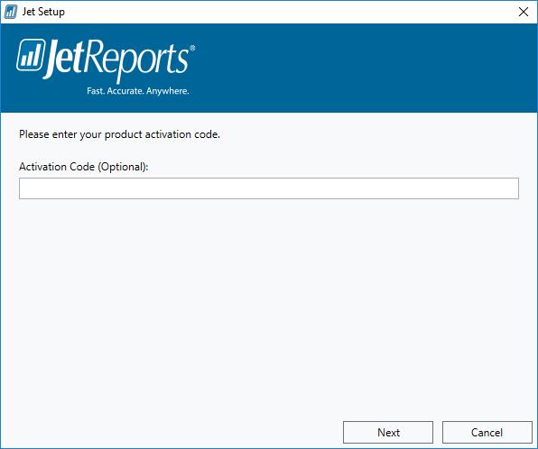 Jet Setup: Activation Code