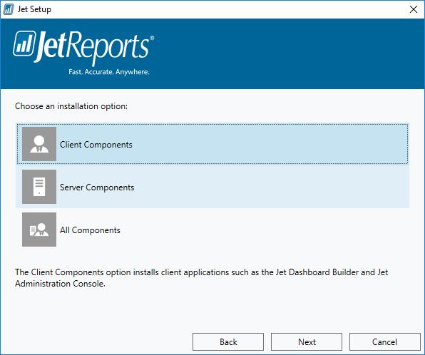 Jet Setup: Choose an installation option