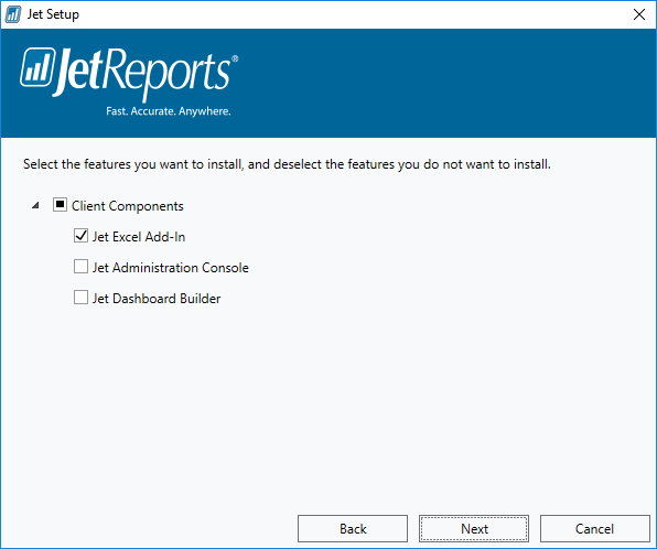Jet Setup: Select features to install
