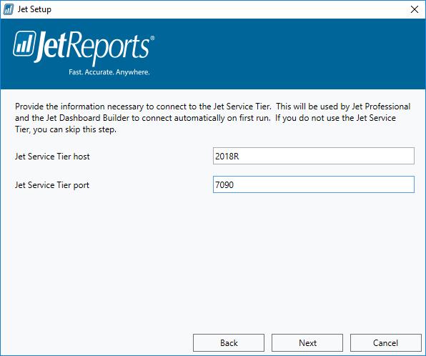 Jet Setup: Jet Service Tier