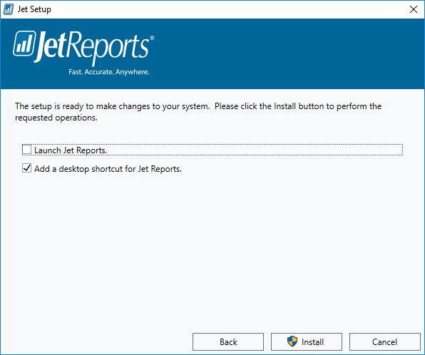 Jet Setup: Start installation