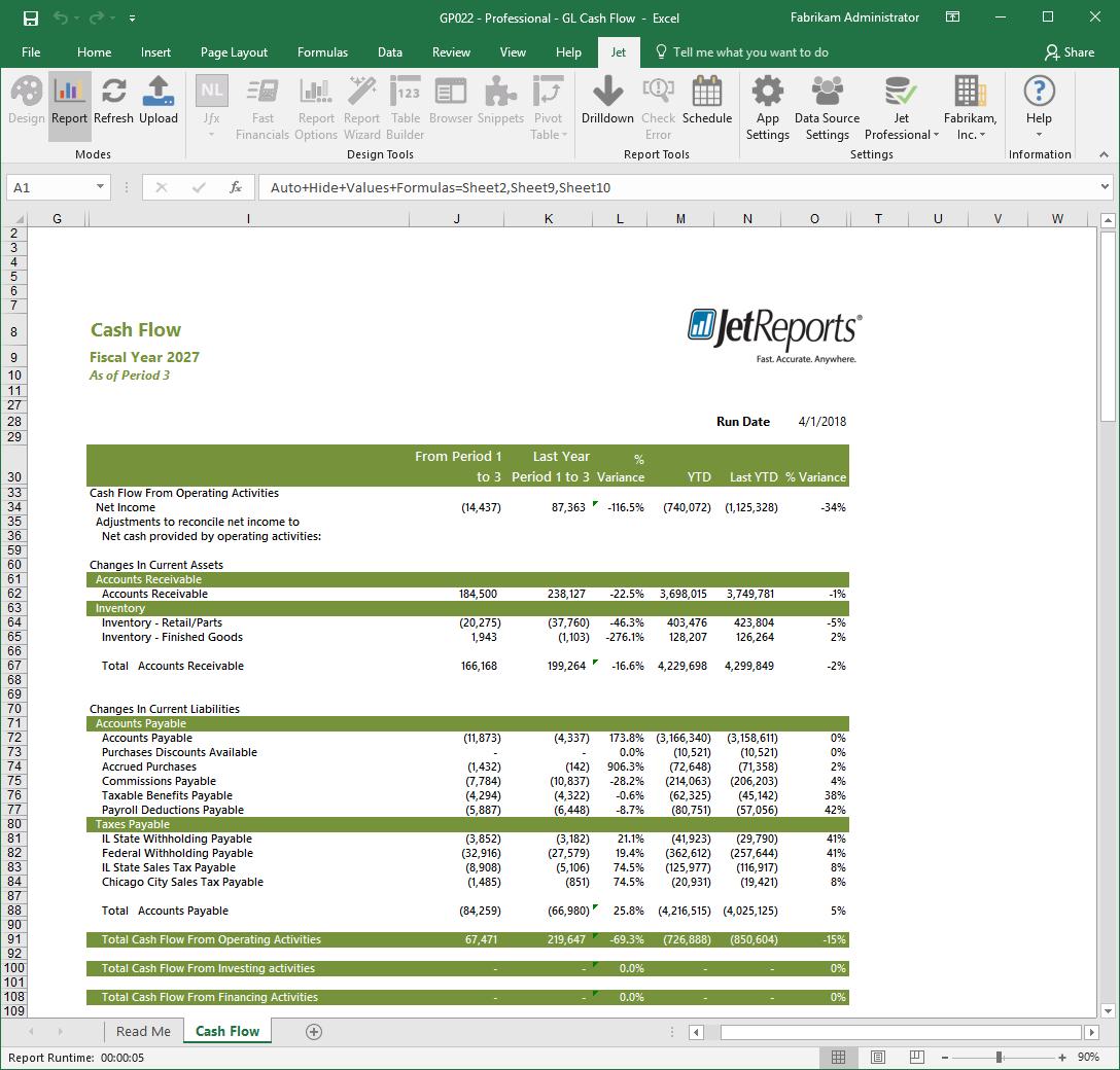 Microsoft Excel Cash Flow report