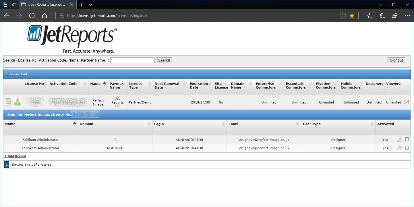 Licensing Portal User List