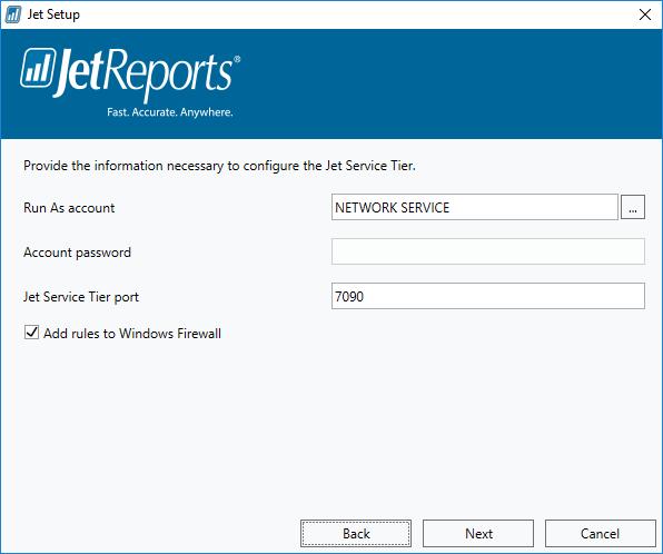 Jet Setup - Jet Service Tier