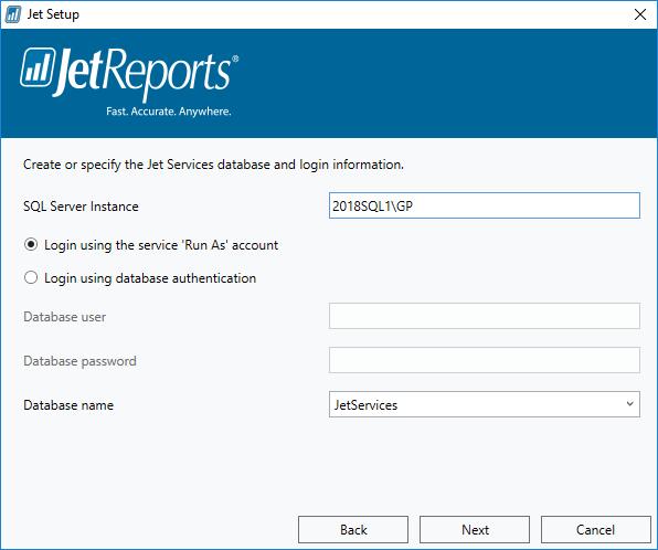 Jet Setup - Jet Serices database and login information