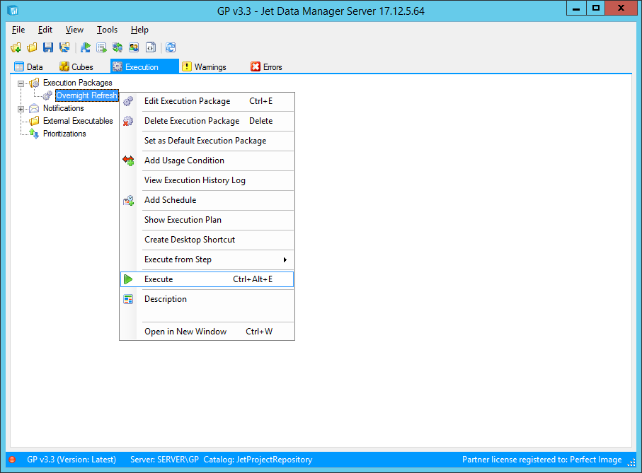 Jet Data Manager Server: Execution