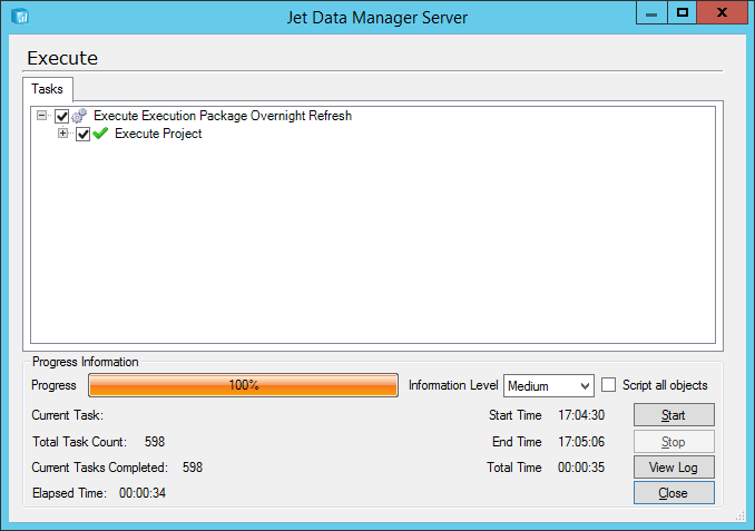 Jet Data Manager Server: Execute