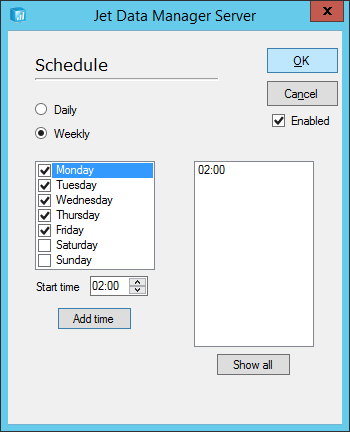 Jet Data Manager Server: Schedule