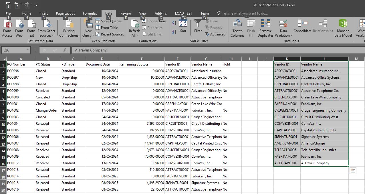 Microsoft Excel showing unique data