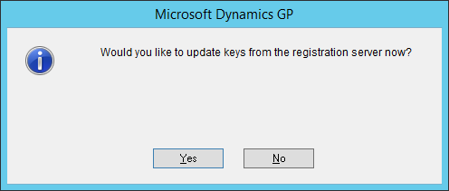 Microsoft Dynamics GP - Would you like to update keys from the registration server now?
